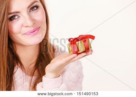 Lovely Woman With Golden Box Gift