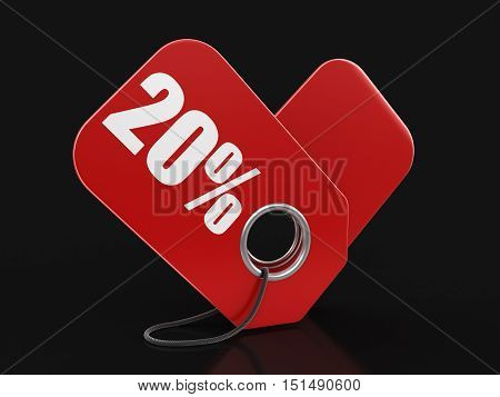 3D Illustration. Label 50%. Image with clipping path