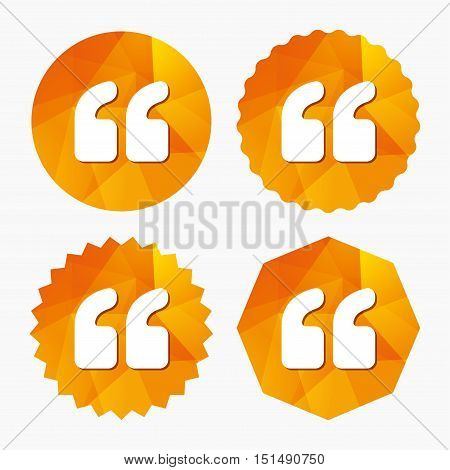 Quote sign icon. Quotation mark symbol. Double quotes at the beginning of words. Triangular low poly buttons with flat icon. Vector