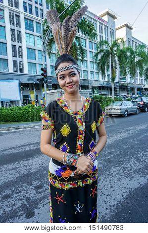 Kota Kinabalu,Sabah-Aug 31,2016:A beautiful Kadazandusun woman in traditional attire during the Malaysia national day at Kota Kinabalu,Sabah,Borneo on 31st Aug 2016.