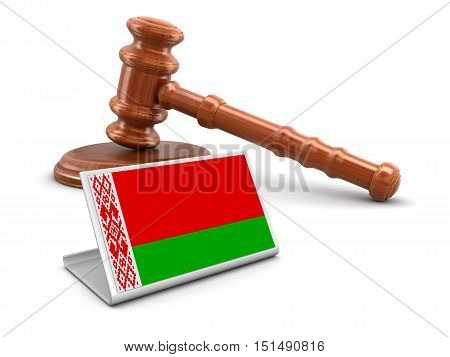 3D Illustration. 3d wooden mallet and Belarus flag. Image with clipping path