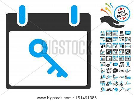 Key Calendar Day pictograph with bonus calendar and time management icon set. Vector illustration style is flat iconic symbols, blue and gray colors, white background.
