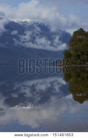 Calm waters of Lake Rosselot located along the Carretera Austral  in the Aysen Region of southern Chile.