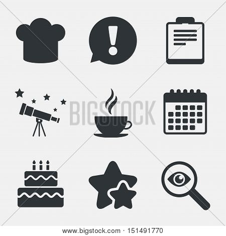 Coffee cup icon. Chef hat symbol. Birthday cake signs. Document file. Attention, investigate and stars icons. Telescope and calendar signs. Vector