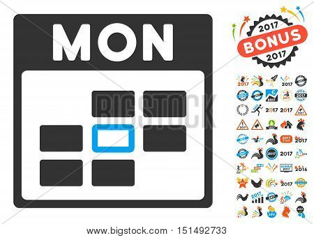 Monday Calendar Grid pictograph with bonus calendar and time management pictograph collection. Vector illustration style is flat iconic symbols, blue and gray colors, white background.