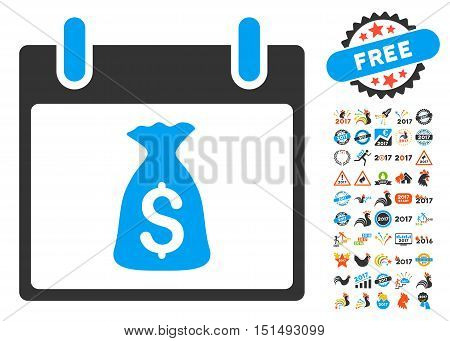 Money Bag Calendar Day pictograph with bonus calendar and time management pictograph collection. Vector illustration style is flat iconic symbols, blue and gray colors, white background.