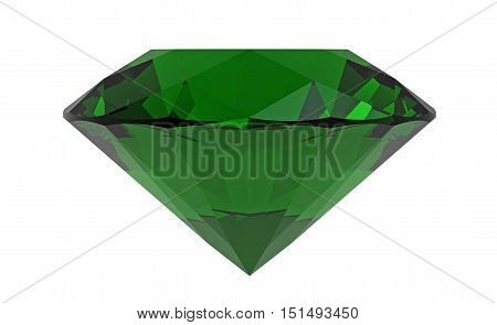 Green diamond emerald gemstone isolated on white 3D rendering
