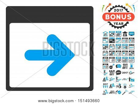 Next Calendar Day pictograph with bonus calendar and time management clip art. Vector illustration style is flat iconic symbols, blue and gray colors, white background.
