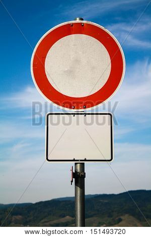Empty road signboard for your sign concept photo. Attention red road sign and information board.