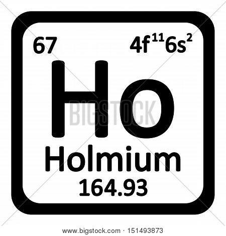 Periodic table element holmium icon on white background. Vector illustration.