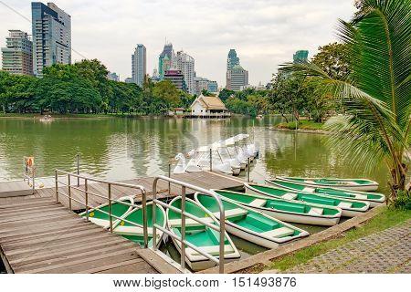 Pleasureboats on a lake in the heart of Bangkok - Lumphini Park Thailand