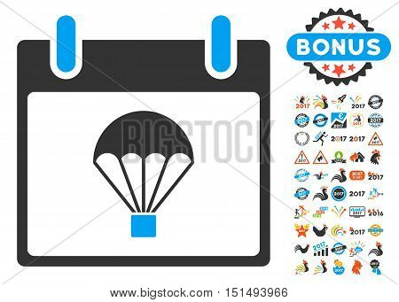 Parachute Calendar Day icon with bonus calendar and time management icon set. Vector illustration style is flat iconic symbols, blue and gray colors, white background.