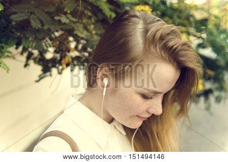 Girl Listening Music Radio Concept