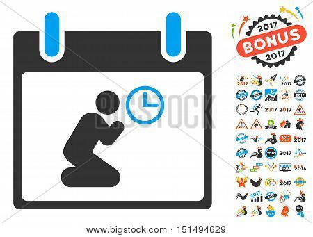Pray Time Calendar Day pictograph with bonus calendar and time management clip art. Vector illustration style is flat iconic symbols, blue and gray colors, white background.