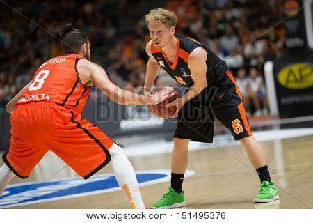 VALENCIA, SPAIN - OCTOBER 12th: Per Guenther with ball during Eurocup match between Valencia Basket and Ratiopharm Ulm at Fonteta Stadium on October 12, 2016 in Valencia, Spain