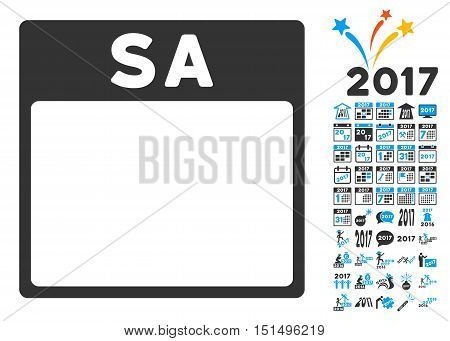 Saturday Calendar Page pictograph with bonus calendar and time management pictograph collection. Vector illustration style is flat iconic symbols, blue and gray colors, white background.
