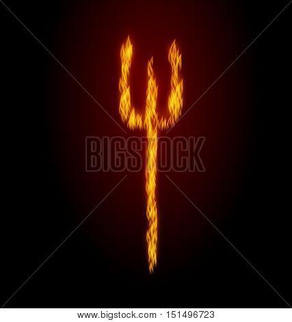 Illustration Concept Fire Trident on Black Background - Vector