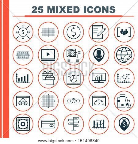 Set Of 25 Universal Icons On Video Player, Pin Employee, Sinus Graph And More Topics. Vector Icon Se
