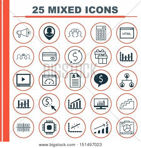 Set Of 25 Universal Icons On Tree Structure, Analytics, Keyword Optimisation And More Topics. Vector