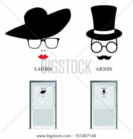 Toilet Doors For Male And Female Head Illustration
