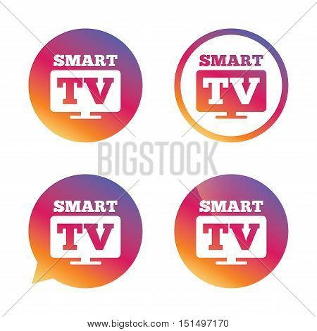 Widescreen Smart TV sign icon. Television set symbol. Gradient buttons with flat icon. Speech bubble sign. Vector