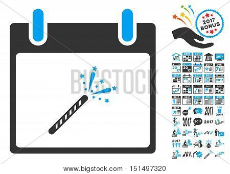 Sparkler Firecracker Calendar Day icon with bonus calendar and time management design elements. Vector illustration style is flat iconic symbols, blue and gray colors, white background.