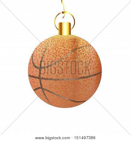 A gold and spakly Christmas tree basketball decoration