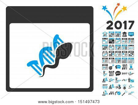 Sperm DNA Replication Calendar Page icon with bonus calendar and time management clip art. Vector illustration style is flat iconic symbols, blue and gray colors, white background.