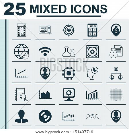 Set Of 25 Universal Icons On Wireless, Pin Employee, Stock Market And More Topics. Vector Icon Set I