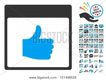 Thumb Up Calendar Page icon with bonus calendar and time management pictures. Vector illustration style is flat iconic symbols, blue and gray colors, white background.