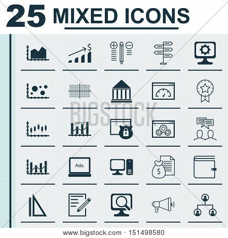 Set Of 25 Universal Icons On Discussion, Keyword Optimisation, Report And More Topics. Vector Icon S