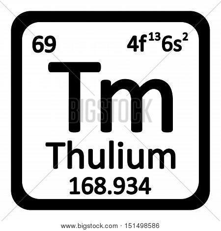 Periodic table element thulium icon on white background. Vector illustration.