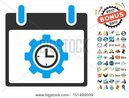 Time Gear Calendar Day pictograph with bonus calendar and time management symbols. Vector illustration style is flat iconic symbols, blue and gray colors, white background.