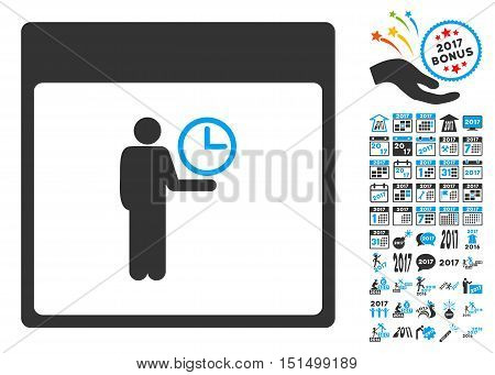 Time Manager Calendar Page pictograph with bonus calendar and time management clip art. Vector illustration style is flat iconic symbols, blue and gray colors, white background.