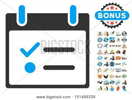 To do List Calendar Day pictograph with bonus calendar and time management clip art. Vector illustration style is flat iconic symbols, blue and gray colors, white background.