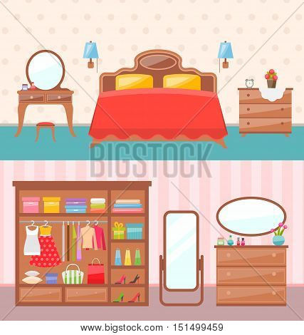 Illustration Flat Design Bedroom Interior with Dresser, Wardrobe, Mirror. Modern Furniture. Colorful Minimal Style - Vector