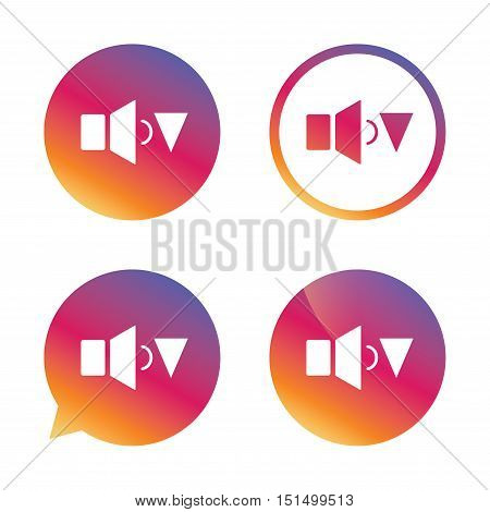 Speaker low volume sign icon. Sound symbol. Gradient buttons with flat icon. Speech bubble sign. Vector