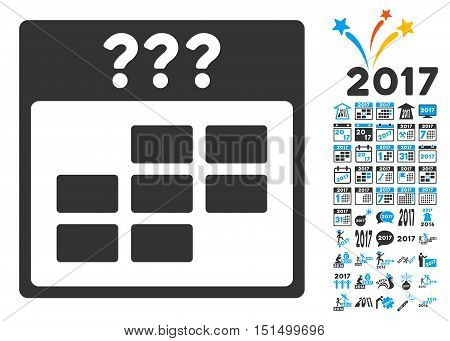 Unknown Month Calendar Grid pictograph with bonus calendar and time management clip art. Vector illustration style is flat iconic symbols, blue and gray colors, white background.