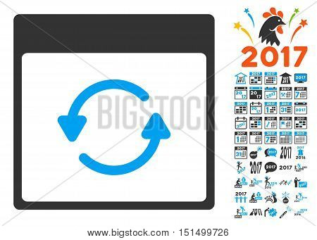 Update Calendar Page icon with bonus calendar and time management symbols. Vector illustration style is flat iconic symbols, blue and gray colors, white background.