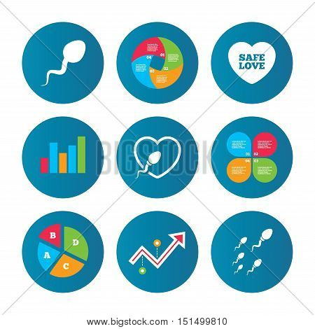 Business pie chart. Growth curve. Presentation buttons. Sperm icons. Fertilization or insemination signs. Safe love heart symbol. Data analysis. Vector