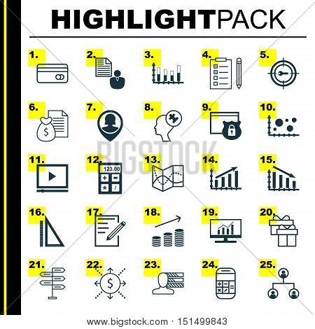 Set Of 25 Universal Icons On Fail Graph, Pin Employee, Financial And More Topics. Vector Icon Set In