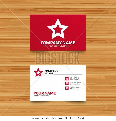 Business card template. Star sign icon. Favorite button. Navigation symbol. Phone, globe and pointer icons. Visiting card design. Vector