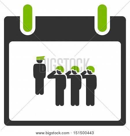 Army Squad Calendar Day vector pictograph. Style is flat graphic bicolor symbol, eco green and gray colors, white background.