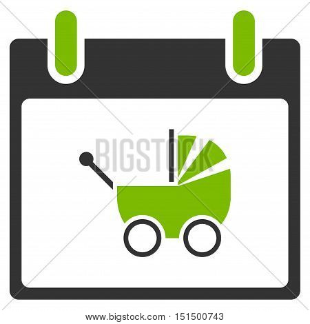 Baby Carriage Calendar Day vector pictograph. Style is flat graphic bicolor symbol, eco green and gray colors, white background.