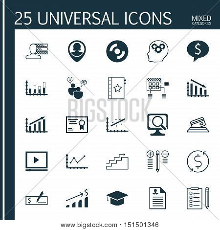 Set Of 25 Universal Icons On Credit Card, Curriculum Vitae, Blank Cd And More Topics. Vector Icon Se