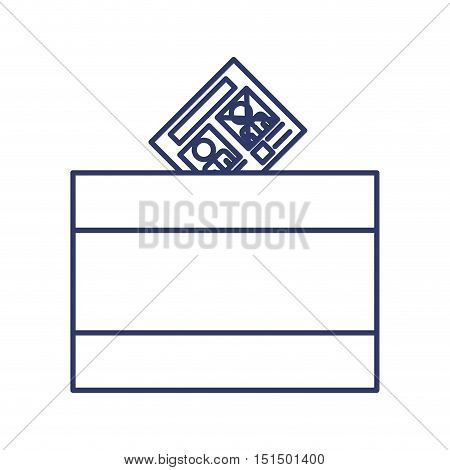silhouette with URN for voting vector illustration