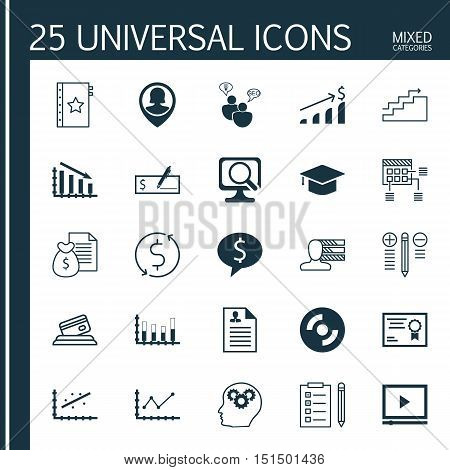 Set Of 25 Universal Icons On Blank Cd, Decision Making, Curriculum Vitae And More Topics. Vector Ico