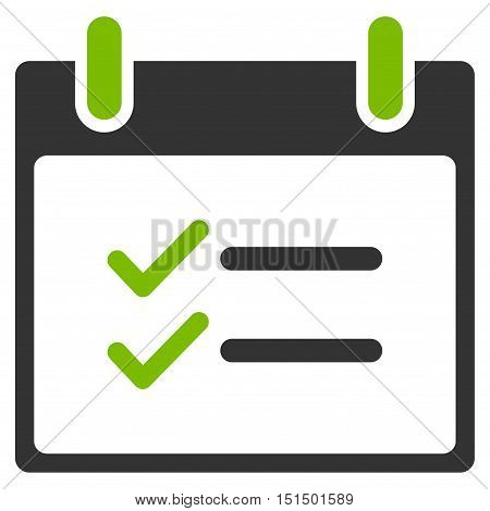 Check Items Calendar Day vector pictograph. Style is flat graphic bicolor symbol, eco green and gray colors, white background.