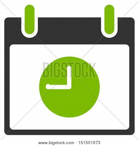 Clock Calendar Day vector pictogram. Style is flat graphic bicolor symbol, eco green and gray colors, white background.