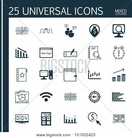 Set Of 25 Universal Icons On Money Navigation, Analysis, Coaching And More Topics. Vector Icon Set Including Coins Growth, Sinus Graph, Keyword Marketing And Other Icons.